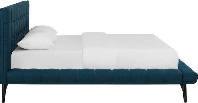 Julia Biscuit Tufted Queen Bed Blue