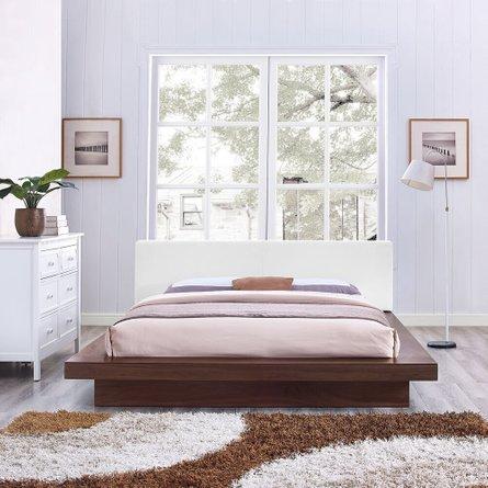 Freja Queen Vinyl Platform Bed Walnut And White