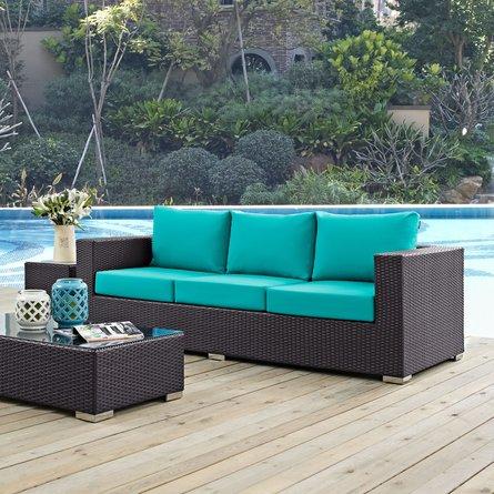 Convene Outdoor Patio Sofa Espresso Turquoise