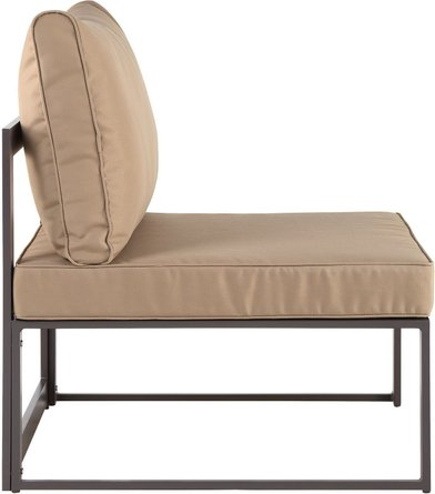 Fortuna Armless Outdoor Patio Chair Brown & Mocha