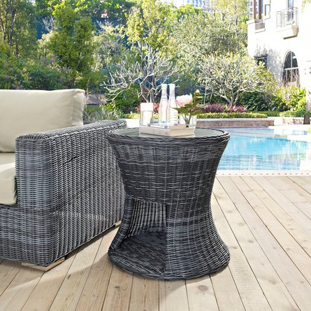 Summon Round Outdoor Patio Side Table Gray