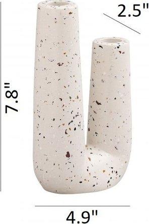 Terrazzo Novelty Tube Vase White