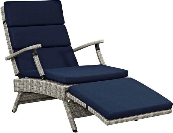 Envisage Chaise Outdoor Patio Lounge Chair Light Gray & Navy