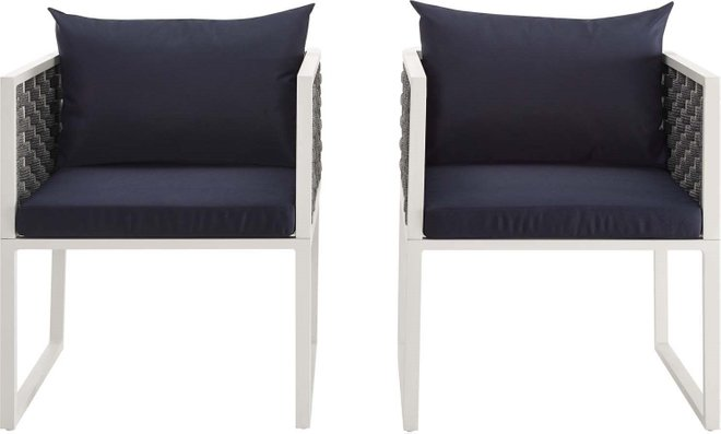 Stance Dining Armchair Outdoor Patio White & Navy (Set of 2)