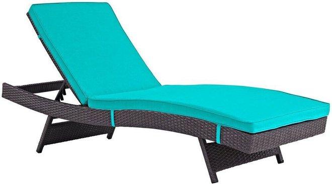 Convene Outdoor Patio Chaise Espresso & Turquoise