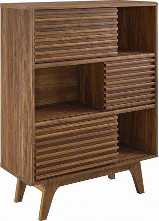 Render Three-Tier Display Storage Cabinet Stand Walnut