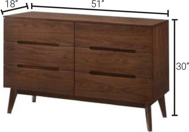 Modrest Lewis Mid-Century Modern Dresser Walnut