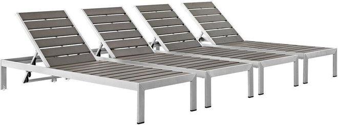 Shore Outdoor Patio Chaise Silver & Gray (Set Of 4)