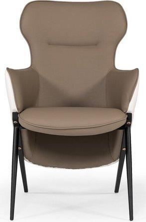 Modrest Coreen Accent Chair White & Brown