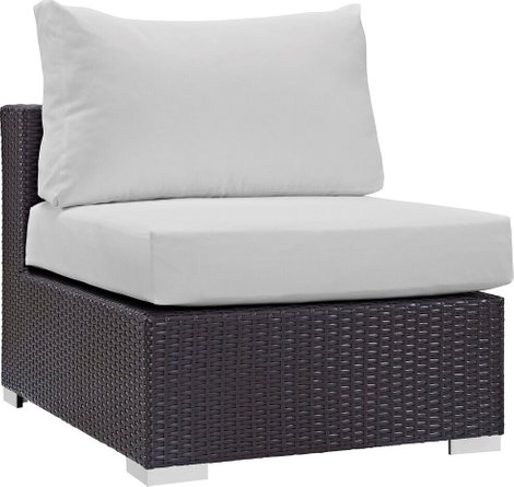 Convene Outdoor Armless Chair Espresso & White