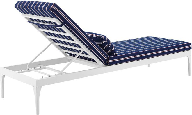 Perspective Cushion Outdoor Patio Chaise Lounge Chair White Striped Navy