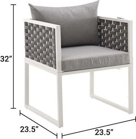 Stance Dining Armchair Outdoor Patio White & Gray (Set Of 2)