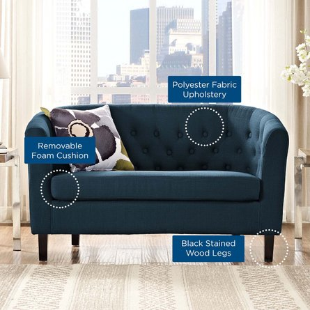 Prospect Upholstered Fabric Loveseat Azure