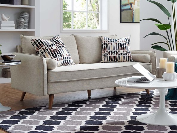 Revive Upholstered Fabric Sofa Beige