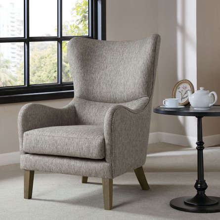 Arianna Swoop Wing Chair Gray