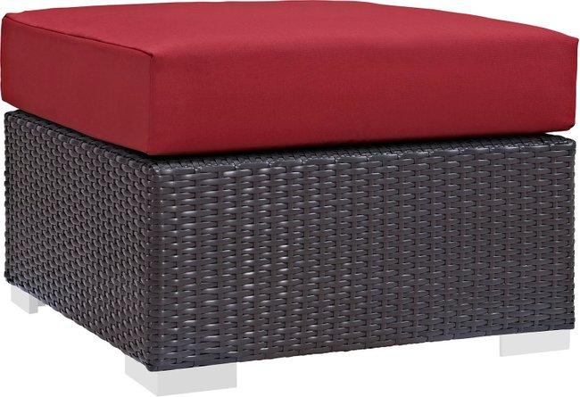 Convene Outdoor Patio Fabric Square Ottoman Espresso Red
