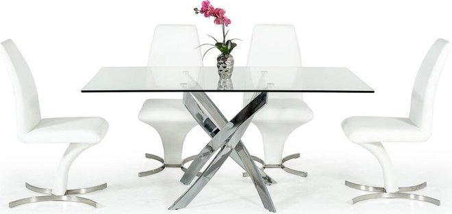 Modrest Pyrite Modern Rectangular Dining Table Glass