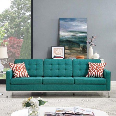 Loft Upholstered Fabric Sofa Teal