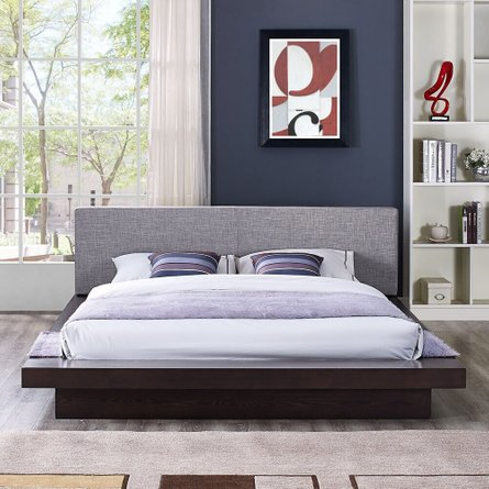 Freja Queen Fabric Platform Bed Cappuccino And Gray