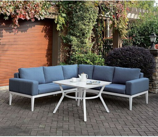 Sharon Patio Sectional White & Blue