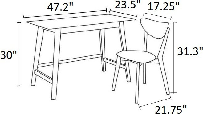 Modern Single Seater Desk And Chair Set Walnut