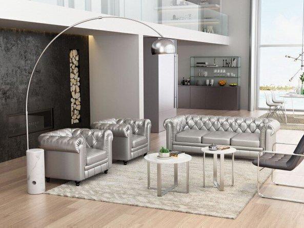 Trion Floor Lamp Satin & Chrome