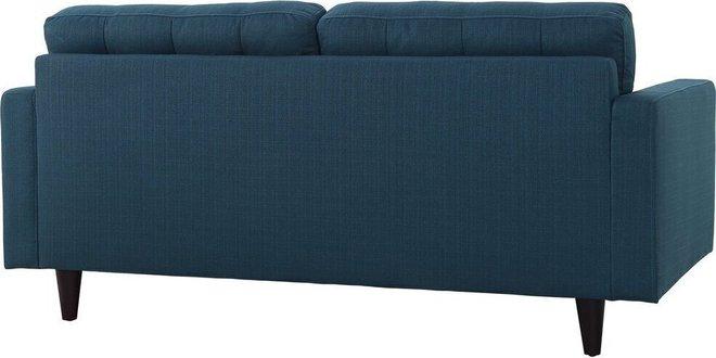 Empress Upholstered Fabric Loveseat Azure