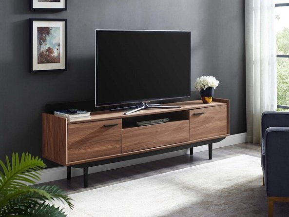 """Visionary 71"""" TV Stand Walnut And Black"""