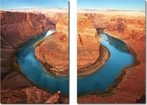 Wraparound Waterway Mounted Photography Print Diptych Multicolor