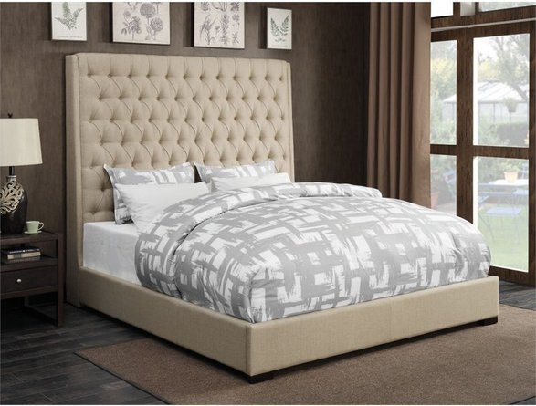 Camille Upholstered King Bed Cream