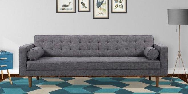 Achernar Mid-Century Modern Sofa Dark Gray
