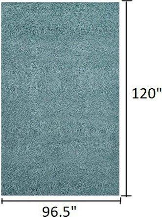 Enyssa Solid 8' x 10' Shag Area Rug Aqua Blue And Ivory