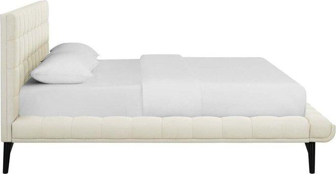 Julia Biscuit Tufted Queen Bed Ivory