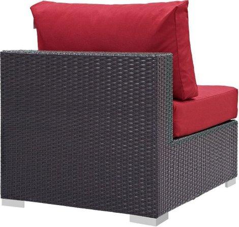 Convene Outdoor Patio Armless Chair Espresso & Red