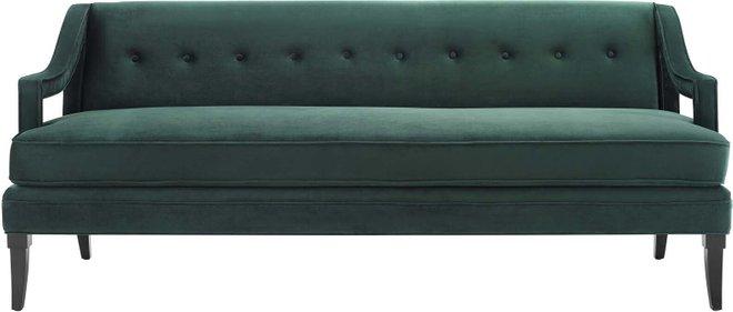 Concur Button Tufted Performance Velvet Sofa Green