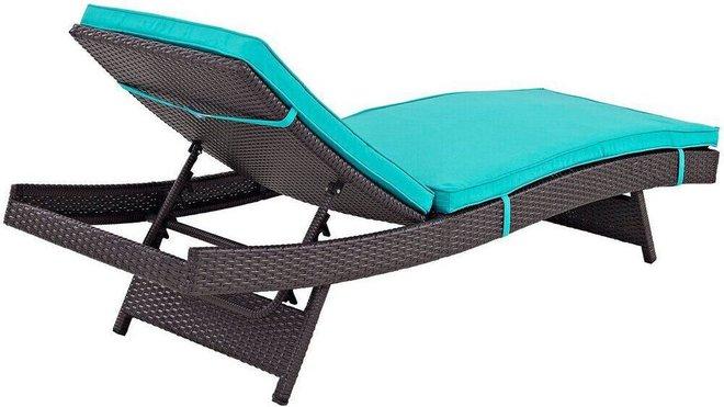 Convene Chaise Outdoor Patio Espresso & Turquoise (Set Of 6)