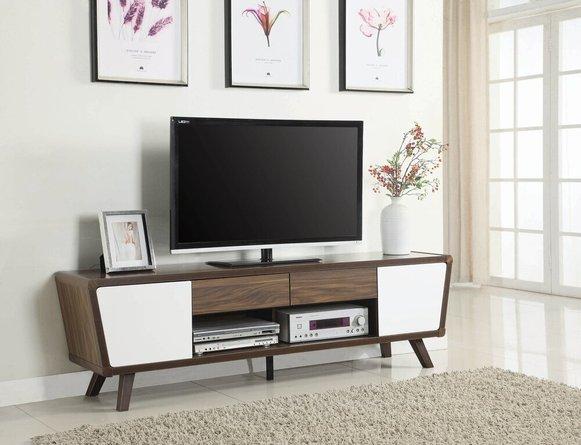 Modern Mid-Century TV Console Dark Walnut