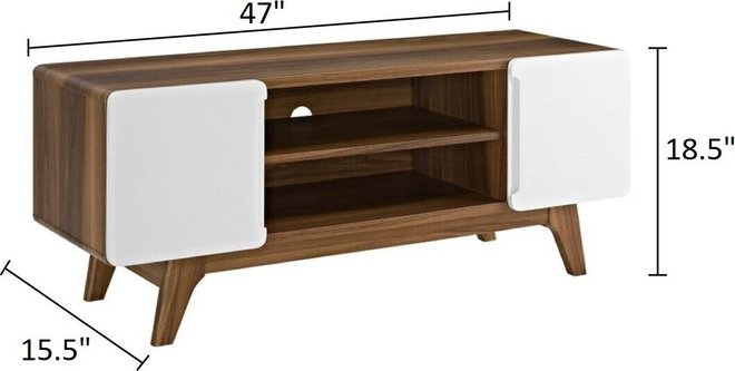 "Tread 47"" TV Stand Walnut And White"