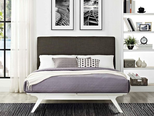 Tracy Queen Bed White And Brown