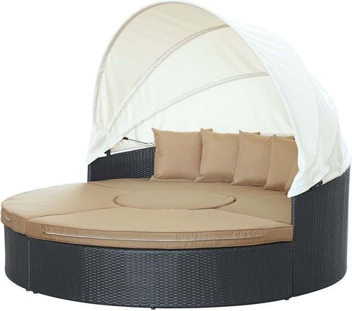 Quest Canopy Outdoor Patio 4 Piece Daybed Set Espresso & Mocha