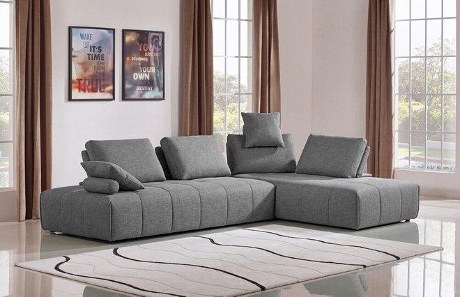 Divani Casa Edgar Modular Reversible Sectional Sofa Fabric Gray