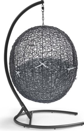 Encase Swing Outdoor Patio Lounge Chair Black & Gray