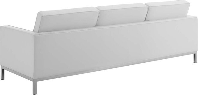 Loft Faux Leather Sofa Silver White