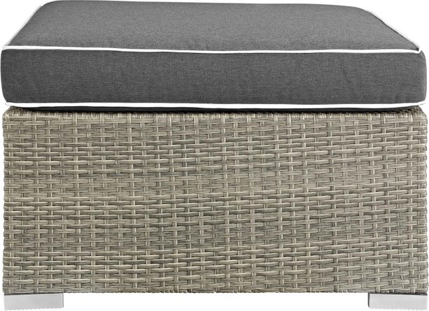 Repose Outdoor Patio Upholstered Fabric Ottoman Light Gray Charcoal