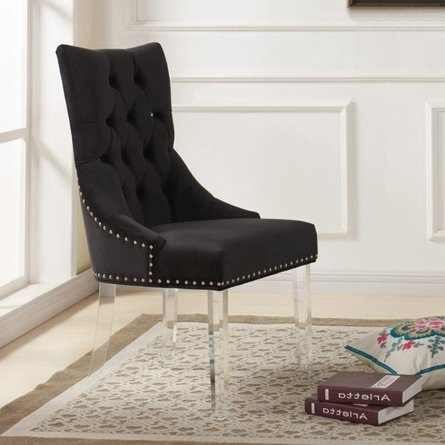 Ural Modern and Contemporary Tufted Dining Chair Black