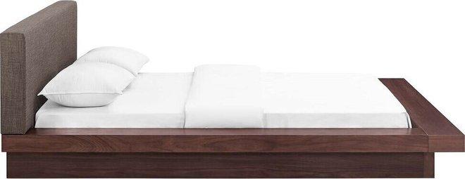 Freja Queen Fabric Platform Bed Walnut And Brown