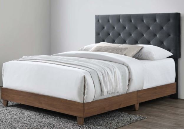 Rhiannon Velvet Queen Bed Walnut & Charcoal