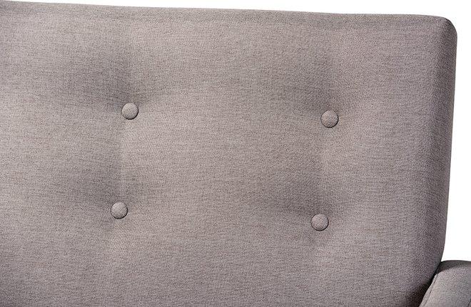 Perris Sofa Light Gray & Walnut