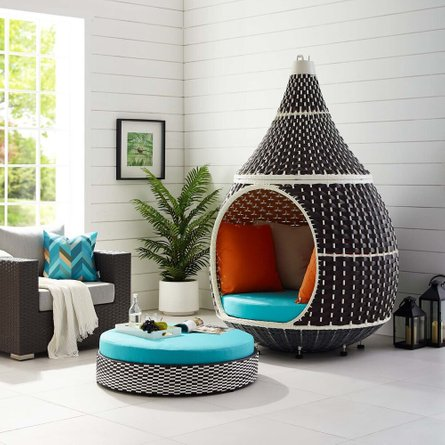 Palace Outdoor Hanging Pod Brown & Turquoise