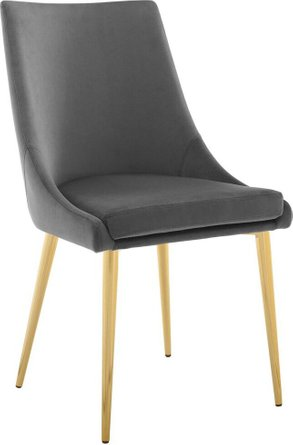 Viscount Accent Performance Velvet Dining Chair Gray